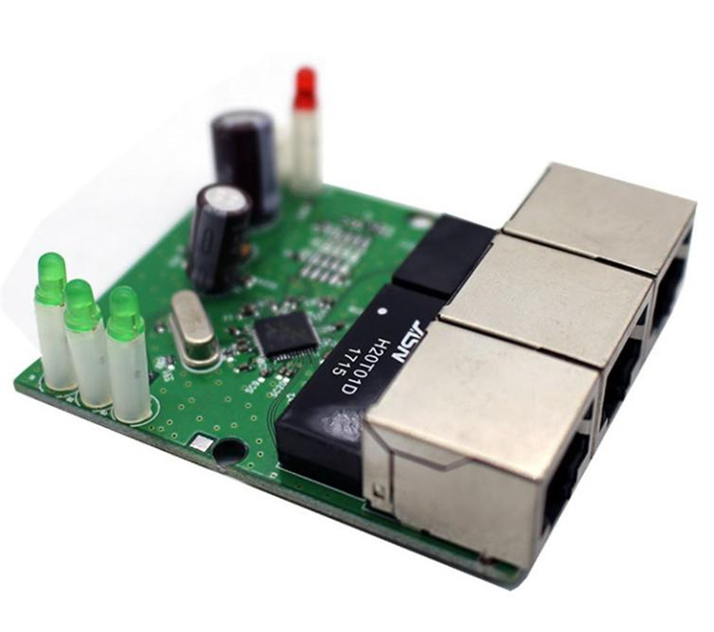 OEM switch mini 3 port ethernet switch 10 / 100mbps rj45 network switch hub pcb module board for system integration 2