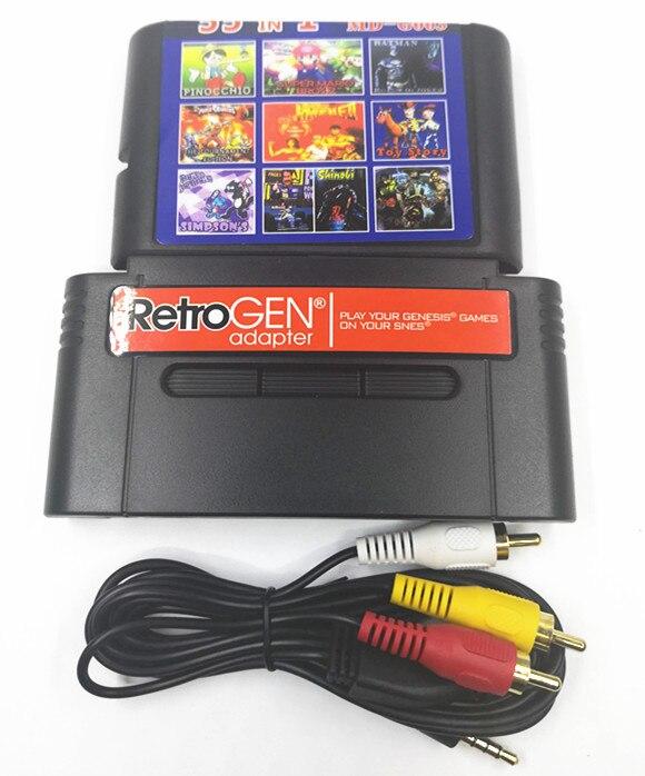 PER RetroGEN ti permettono di giocare sega gensis cartuccia di gioco su Per SNES console con 55 giochi classici