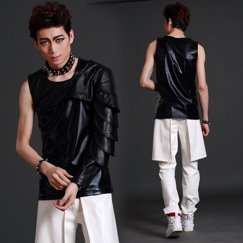 Nightclub Male Singer Dj Stage Shawl Leather Bar Trend Ds Rock Jazz Dance Costume For Men'S Hip Hip Street Stage Wear DWY1680
