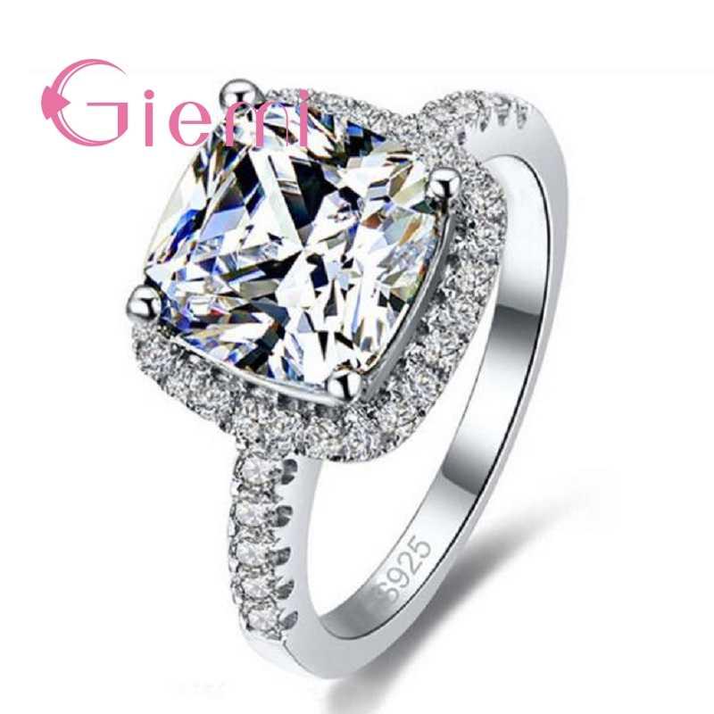 Luxury 925 เงินสเตอร์ลิงแหวนผู้ชายผู้หญิงงานแต่งงานเครื่องประดับ Shining 5A Zircon Inlay ประดับโปรโมชั่นขาย