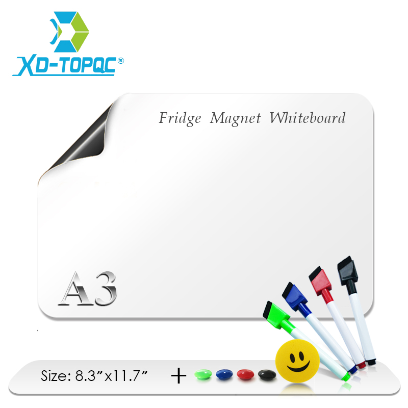 XINDI A3 Whiteboard 8.3″ x 11.7″ Flexible Fridge Magnets Waterproof Kids Drawing Board Message Magnetic Refrigerator Boards FM05