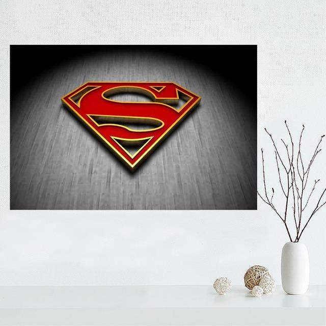 New arrival Custom Superman man logo canvas poster Home Decoration Wall Art Hot Sale cloth Silk Fabric wall poster print