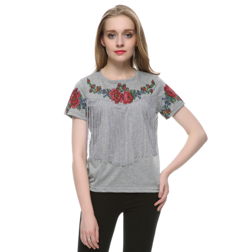 Buy women tassel floral print t shirt for Printed short sleeve shirts