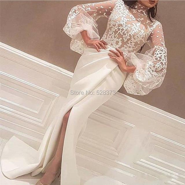 c6a810606b10 YNQNFS MD139 Elegant Wedding Guest Dress High Neck Long Sleeves Arabic  Mother of the Bride Groom Dresses Outfits 2019