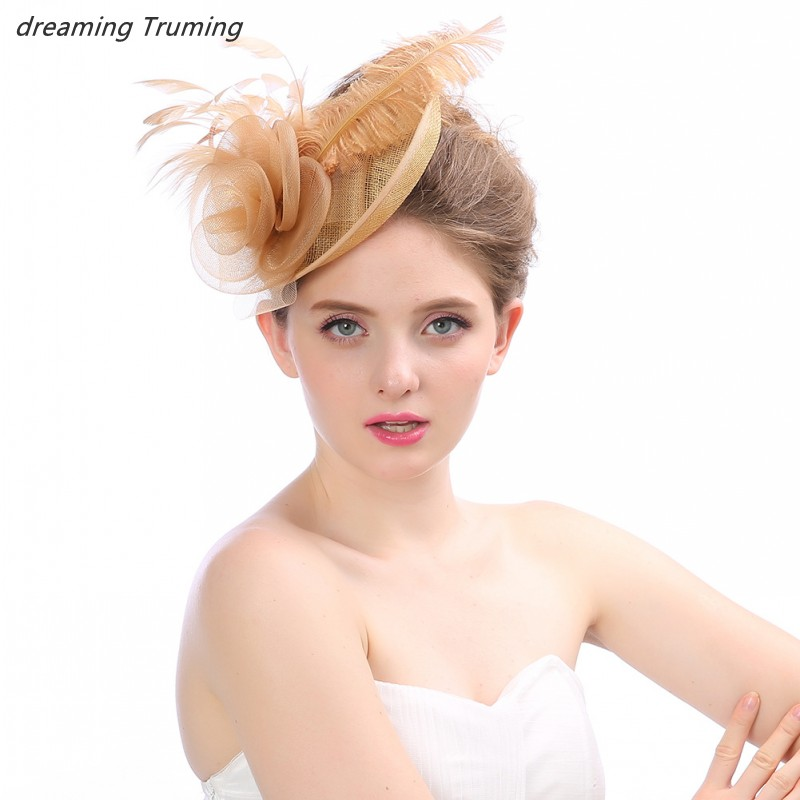 Hot Selling Multi Colored Wedding Hats For Women Elegant Feathers Tulle Face Veil Headpiece Bridal Hats And Fascinators