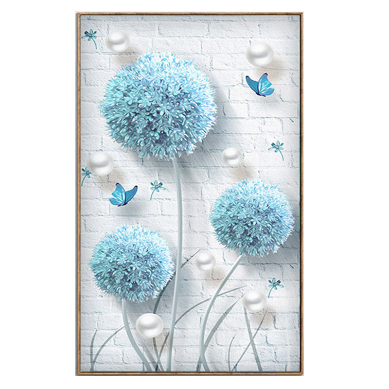 Youran DIY Simple Modern Diamond Embroidery Blue Dandelion Butterflies Diamond Mosaic Pattern Flower Home Decoration Painting