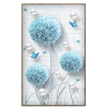цены Youran DIY Simple Modern Diamond Embroidery Blue Dandelion Butterflies Diamond Mosaic Pattern Flower Home Decoration Painting