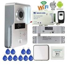 Бесплатная Доставка Беспроводной RJ45 Wifi Видео Домофон Телефон Удаленный Разблокировать Металла RFID Дверной Звонок Камера + Drop Домофоны