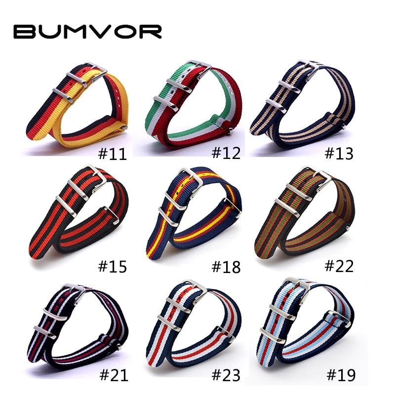 BUMVOR  2019 Army Military Nato Nylon Watch 22 Mm Grey Black Orange Fabric Woven Watchbands Strap Band Buckle Belt Accessories