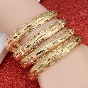 24k Gold Bangle for Women Gold Dubai Bride Wedding Ethiopian Bracelet Africa Bangle Arab Jewelry Gold Charm Bracelet