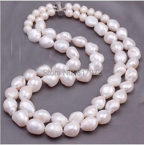 Fête de mariage vraie perle 10-11mm AAA naturel blanc perle à la main 2 couche collier femmes bijoux eau douce mode cadeau