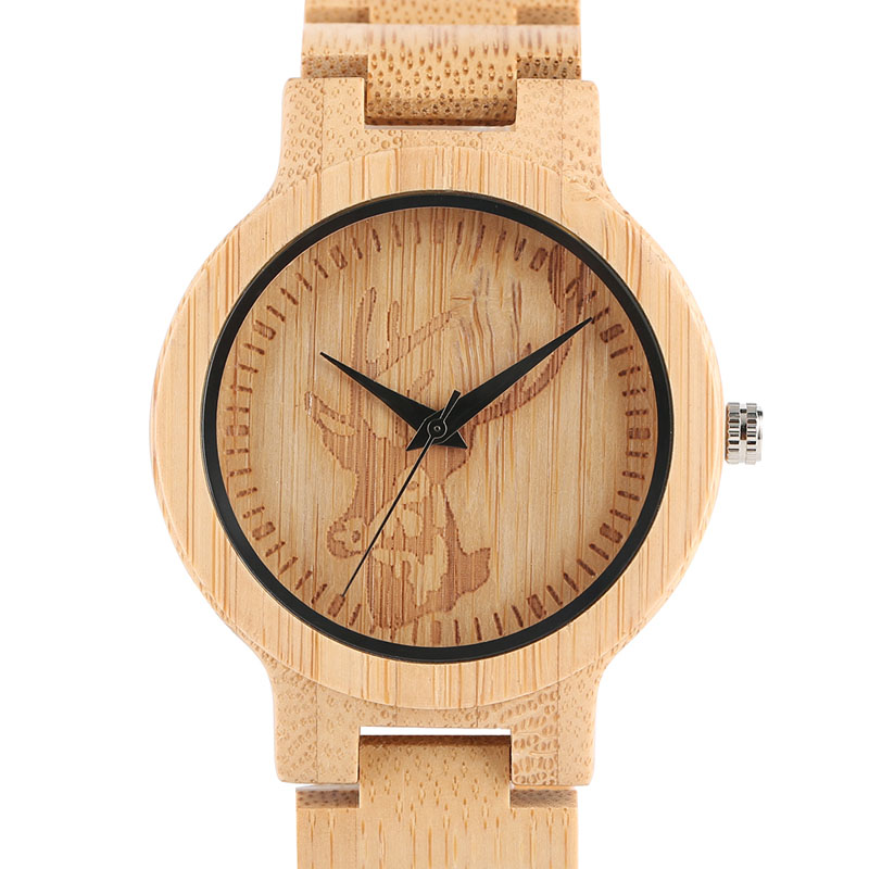 Top Natural Bamboo Wooden Watches Men Deer Elk Head Dial Creative Full Wood Handmade Quartz-watch Male Sport Wristwatch Gift bobo bird top brand mens bamboo wooden elk deer wolf head watch quartz real leather strap men watches with gift box