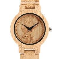 Top Natural Bamboo Wooden Watches Men Deer Elk Head Dial Creative Full Wood Handmade Quartz watch Male Sport Wristwatch Gift