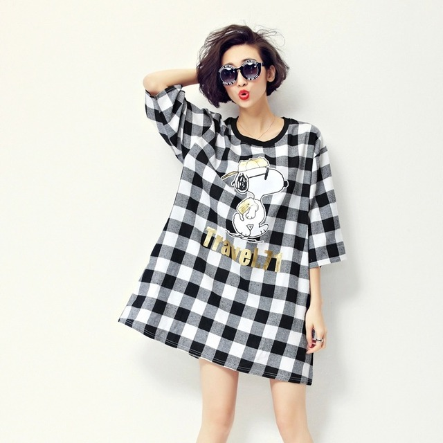 019720ffc3a Maternity Clothing Spring Cartoon Maternity Dress Maternity Fashion Plaid  Pirnt Loose Clothes Plus Dresses for Pregnant