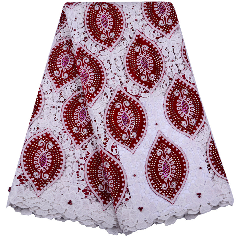 African Velvet Lace Fabric Red And White Milk Silk Lace Fabric Guipure Rhinestones With Beads Lace