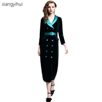 Fashion Double Breasted Notched Collar Office Lady Velvet Dress Women Winter Long Sleeve High Waist Vintage