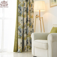 FINO Blackout Jacquard Blue Curtains For Living Room Solid Green Curtain For Bedroom Custom Made Decor Window Thickened Drapes