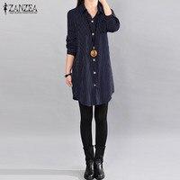 ZANZEA 2018 Autumn Women Lapel Neck Buttons Long Sleeve New Shirts Cotton Linen Striped Blusas Loose