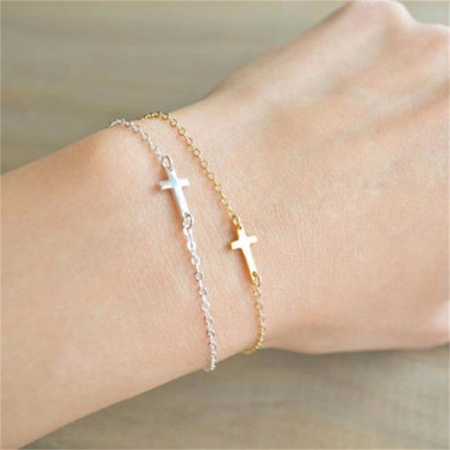 Us 1 54 22 Off New Fashion Sideways Cross Bracelet Individualized Asymmetrical For Women S Friend Gift In Chain Link Bracelets From