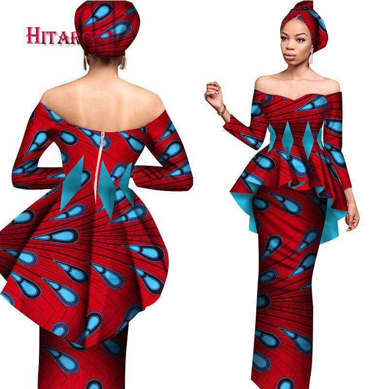 Été femmes robe jupe ensembles traditionnel africain 2 pièces femmes ensemble vêtements sur mesure longs hauts + jupes offre spéciale BRW WY2566