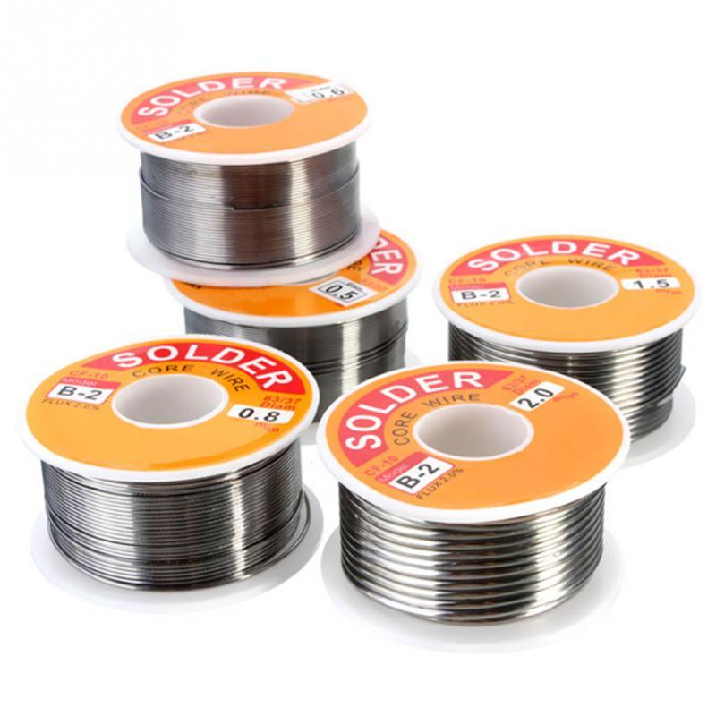 0.5/0.6/0.8/1.0/1.2/1.5/2mm 100g/roll 63/37 Tin Lead Alloy Rosin Core 2% Flux Reel Welding Line Solder Wire Clean Rosin Core