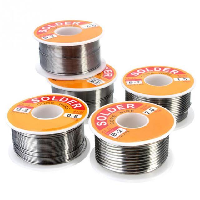 0.5/0.6/0.8/1.0/1.2/1.5/2mm 100g/roll 63/37 Tin lead alloy Rosin Core 2% Flux Reel Welding Line Solder Wire Clean Rosin Core 318