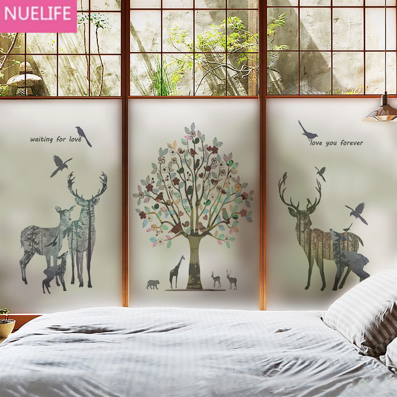many size Animal deer and tree electrostatic glue-free glass film bathroom living room window door office opaque glass film