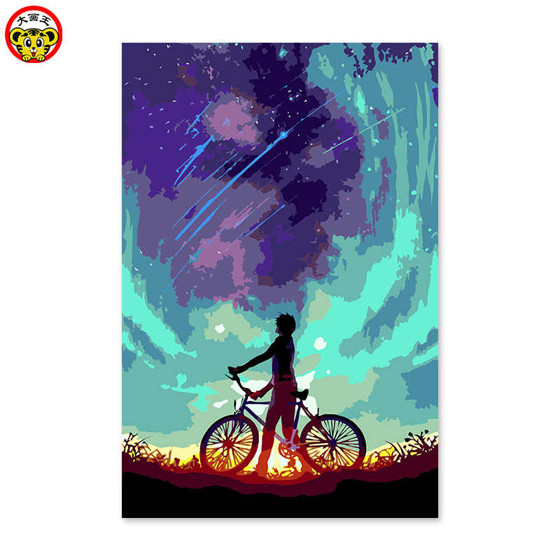 Diy coloring painting by numbers with kits beautiful sky night star picture paint by number for Wall Decor 40x50 framed