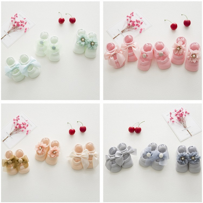6 Pieces/lot=3pair Lace Floral Socks Cute Toddlers Infants Cotton Ankle Bow Socks Baby Girls Princess Bow Socks