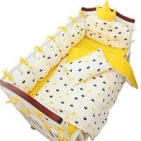 9 шт. роскошные индивидуальные Размеры детские кроватки Постельное белье хлопок заполнения ребенка Постельное белье комплект включает Cot Б
