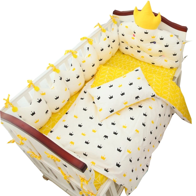9 Pcs Luxury Customized Size Baby Crib Bedding Set Cotton Filling Baby Bed Linens Set Include Cot Bumpers Sheet Quilt Pillow