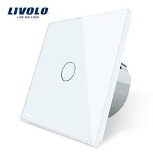 Livolo настенный светильник сенсорный выключатель с кристаллической стеклянной панелью, цветной переключатель, светодиодный индикаторный светильник, универсальные настенные переключатели