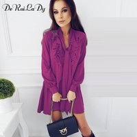 DeRuiLaDy Short Vintage Mini Dress Women Casual Long Sleeve Dress Autumn Ruffle Straps Sexy Black Dresses
