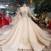 WONDMOND Luxurious Ball Gown Wedding Dresses Long Sleeves
