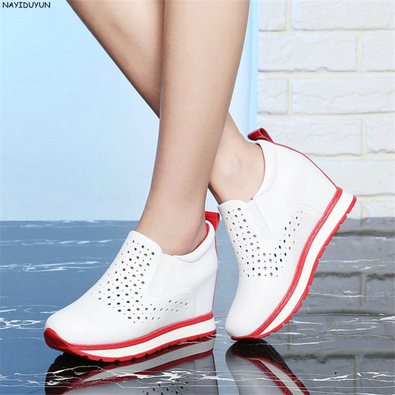 NAYIDUYUN    Women Genuine Leather Wedge High Heel Pumps Platform Creepers Round Toe Slip On Casual Shoes Boots Wedge Sneakers nayiduyun summer wedge high heels women casual platform pumps round toe breathable summer sneakers sandals school shoes chic