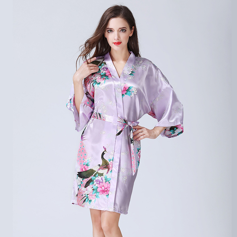 Women Long Robe Brand New Ladies Faux Silk Floral Summer Bathrobe Thin Female Luxury Plus Size Robes B-5350