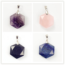 Trendy-beads Ethnic Silver Plated Amethysts Hexagon Section Lucky Star Pendant Lapis Lazuli Jewelry