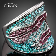 Chran Brand Jewelry Finger Rings Fashion Animal Designs Rhodium Plated Blue Crystal Band for Women
