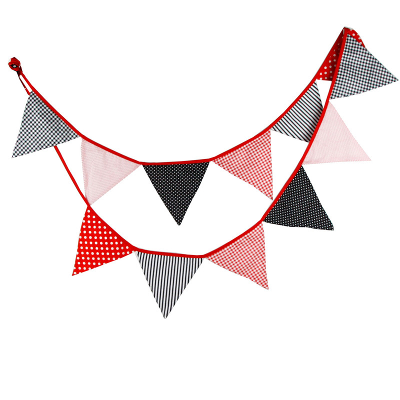 12 Flags 3.2m Red Black White Dot Cotton Fabric Bunting Pennant Flags Banner Garland Baby Shower/Outdoor DIY Home Decoration12 Flags 3.2m Red Black White Dot Cotton Fabric Bunting Pennant Flags Banner Garland Baby Shower/Outdoor DIY Home Decoration