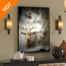 Hand Painted High Quality Modern Abstract Wall Paintings Deer Artist Canvas Oil Painting On Top Art Home Decorations