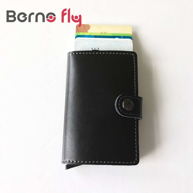High quality PU Leather Antitheft Men Wallets Aluminum Credit Card Protector Slim RFID Wallet Automatic Business Card Holder