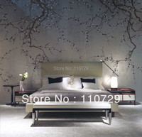 Hand painted gold/silver Foil wallpaper painting plum blossom hand painted TV/Sofa/bedroom/living room background wall paper