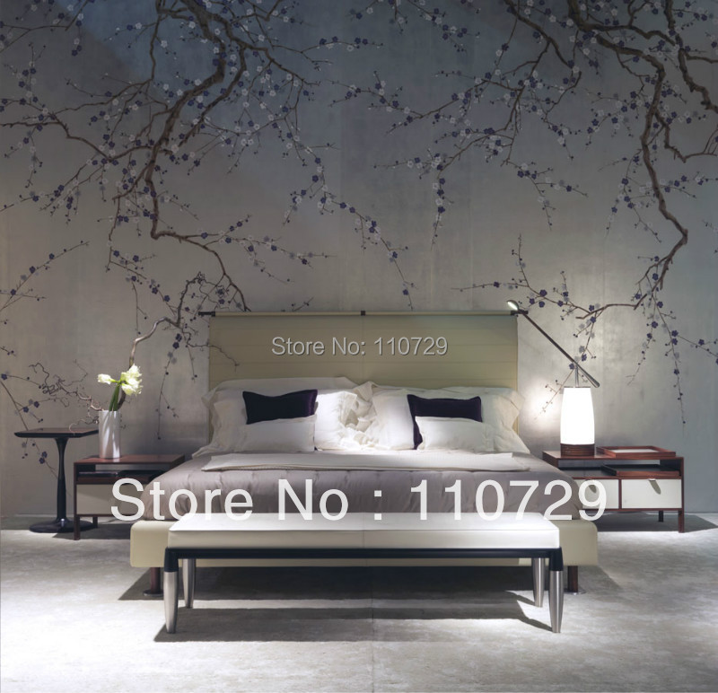 Hand-painted gold/silver Foil wallpaper painting plum blossom hand painted TV/Sofa/bedroom/living room background wall paper luxury gold foil wallpaper gold bedroom sitting room condole top ceiling tv sofa background wall paper roll