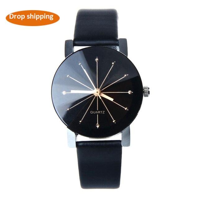 c5a24b858037 Часы Дамская Мода часы кварцевые наручные часы кожа часы Для женщин наручные  часы круглые выпуклые пояса
