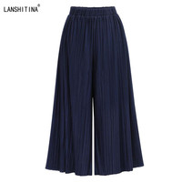 2017 Summer Plus Size Women Casual Loose Wide Leg Pants Pleated Palazzo Stretch Trousers Elastic Waist