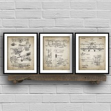 Biplane Aircraft Patent Vintage Blueprint Poster And Print Aviation Wall Pictures Canvas Painting for Living Room Home Decor(China)