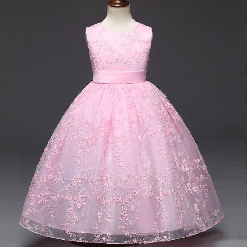 Winter Girls Dress Flower Dresses for Wedding Party Ball Gown for Children Pink White Red Princess dress Vestido de princesa