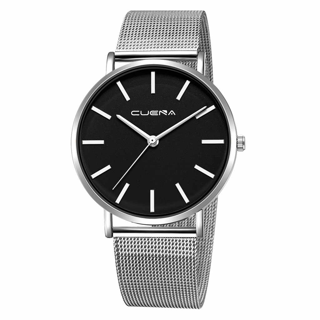 NEW Gray GENEVA Watch Stainless Steel Strap men Dress Watch 2019 Sport High Quality Casual Wristwatch Gift For dropshipping