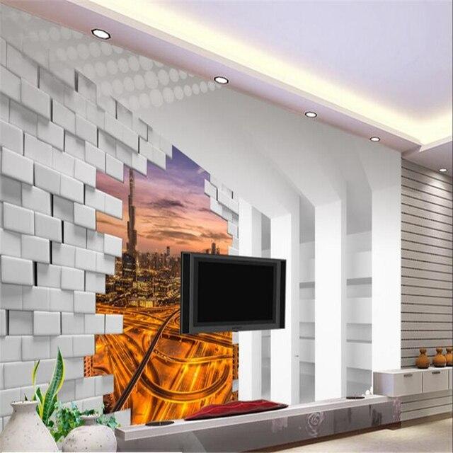 beibehang custom wallpaper 3d stereo space dubai night view tv
