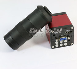 Free shipping 13MP HDMI VGA HD Industry Video Microscope Camera 8~130X digital zoom 60F/S Video output+C-MOUNT Camera lens